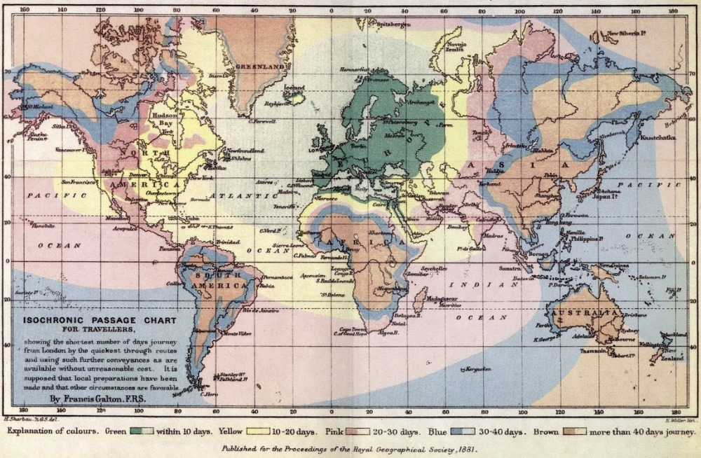 Source: Isochronic Passage Chart by Francis Galton 1881 from the Alternative Transport Blog